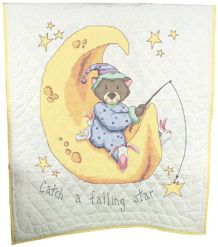 - Fairway Needlecraft 92615 Baby Quilt, Sleeping Animals Design, 36 by 50-Inch, White