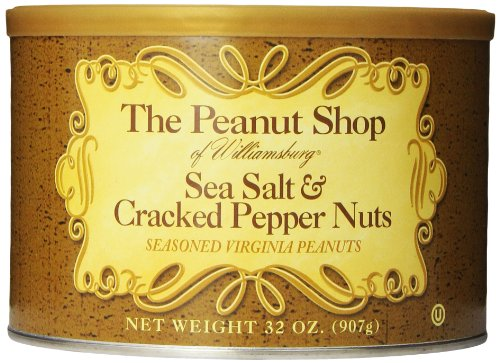 The Peanut Shop of Williamsburg Seasoned Virginia Peanuts, Sea Salt & Cracked Pepper, 32 (Hand Cooked Virginia Peanuts)
