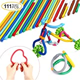 Peradix Soft Building Sticks Toys 111 PCS Kids STEM Learning Educational Building Construction Set 6 year old, DIY Gift Flexible Sticks Motor Skills Toys Storage Bag Activity Center Play Game