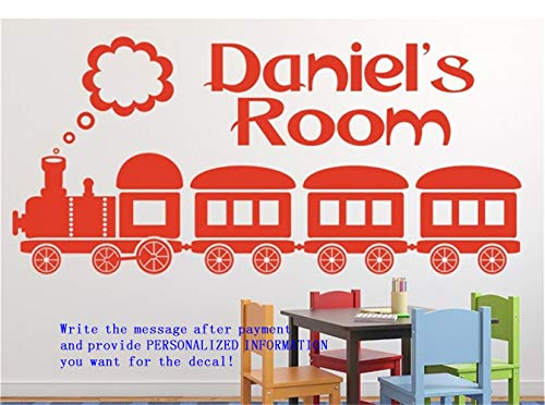 Wall Stickers Art DIY Removable Mural Room Decor Mural Vinyl Personalized Name with Steam Train for Nursery Kids Room Or Bedroom (Name Wall Mount Train)