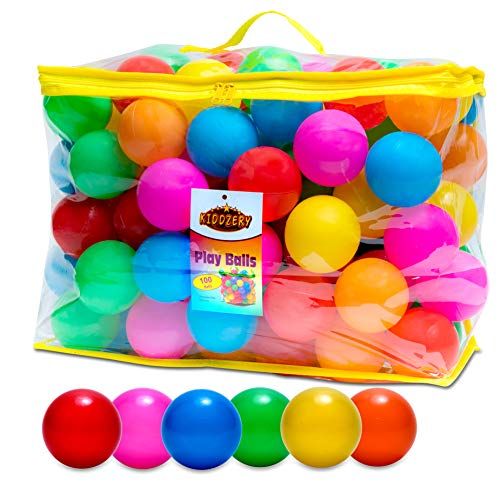Plastic Air Filled Balls for Pits 100 Pack | Crush Proof, Durable, BPA & Phthalates Free, Colorful | for Indoors & Outdoors, Play Tents, Kiddie Pools, Playpen, Jumping Castles, Bounce Houses (Outdoor Materials 100)