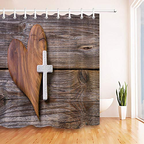 youyoutang Rustic Board Creative Heart Shaped Cross Shower Curtain Liner Waterproof Fabric 3D High-Definition Printing Does Not Fade 12 Shower Hooks 70.8X70.8 Inch Home Decor Bathroom Accessories