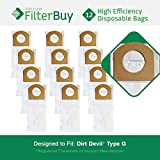 12 - Dirt Devil Type G Vacuum Bags, Part # 3010348001. Designed by FilterBuy to replace Dirt Devil Type G Vacuum Bags.