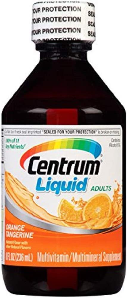 Centrum Liquid Multivitamin / Multimineral Supplement Citrus Flavor 8 Ounce (Value Pack of 2)