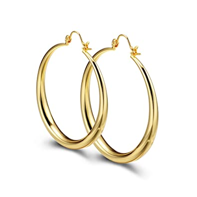 d3ee04447 PAKSHO 9ct Gold Hoop Earrings 50mm with Inlaid Bronze Big Creole Earrings  for Women Premium Fashion