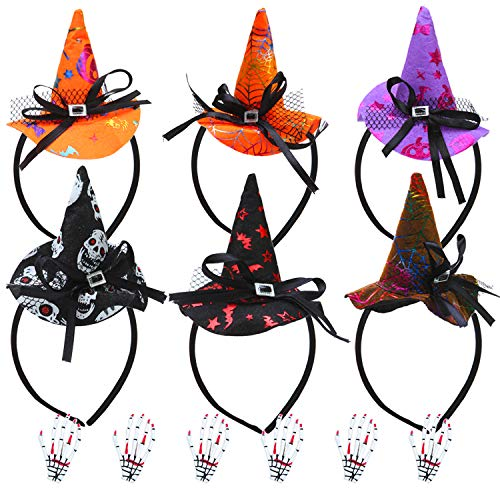 Elcoho 6 Pack Halloween Headbands with 6 Pack Bloodstain Skeleton Hair Clip, Assorted Halloween Party Witch Spider Hat Headbands Boppers Head Clip for Halloween Costume Party (Style 1)