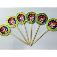8 Peter Pan face Cupcake Toppers Birthday Party Disney Jr. Jake and Neverland Tinkerbell Birthday Party