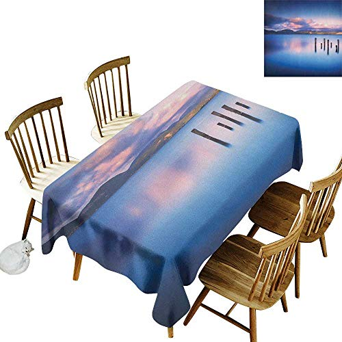 kangkaishi Oil-Resistant and Durable Long Tablecloth Kitchen Available Wooden Pier Tops Remain in Lake with Sunset Mirror Image Out Different Perspectives W14 x L108 Inch Royal Blue
