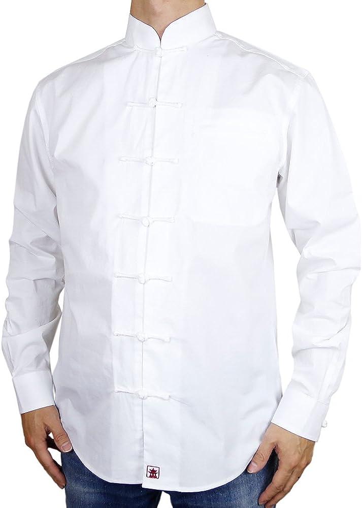 Sinologie Chemise col Mao Officier en Popeline de Coton Blanc
