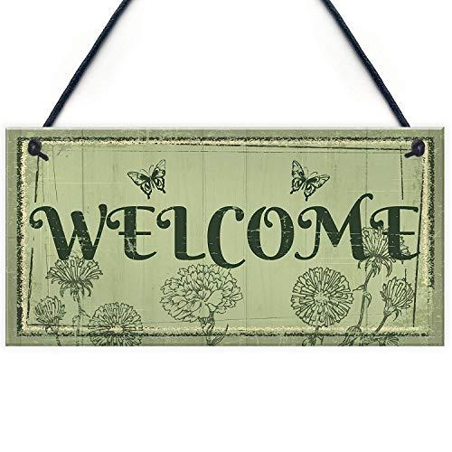"Meijiafei Welcome Sign Front Door Shed Garden Summerhouse Plaque Home Decor Friendship Gift 10"" X 5"" from Meijiafei"
