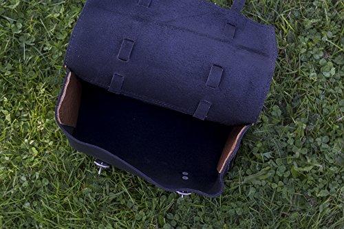 Große Fahrrad Tasche Sattel/Lenker/Rahmen Tasche in schwarz Leder Moto Moped Motorrad Motorradhelm