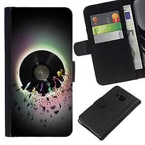 BearCase / Cuero de la tarjeta la carpeta del tirón Smartphone Slots Protección Holder /// HTC One M9 /// Vinilo Music