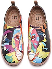 UIN Women's Men's Sneakers Microfiber Leather Travel Casual Waliking Comfortable Slip Ons Art Painted