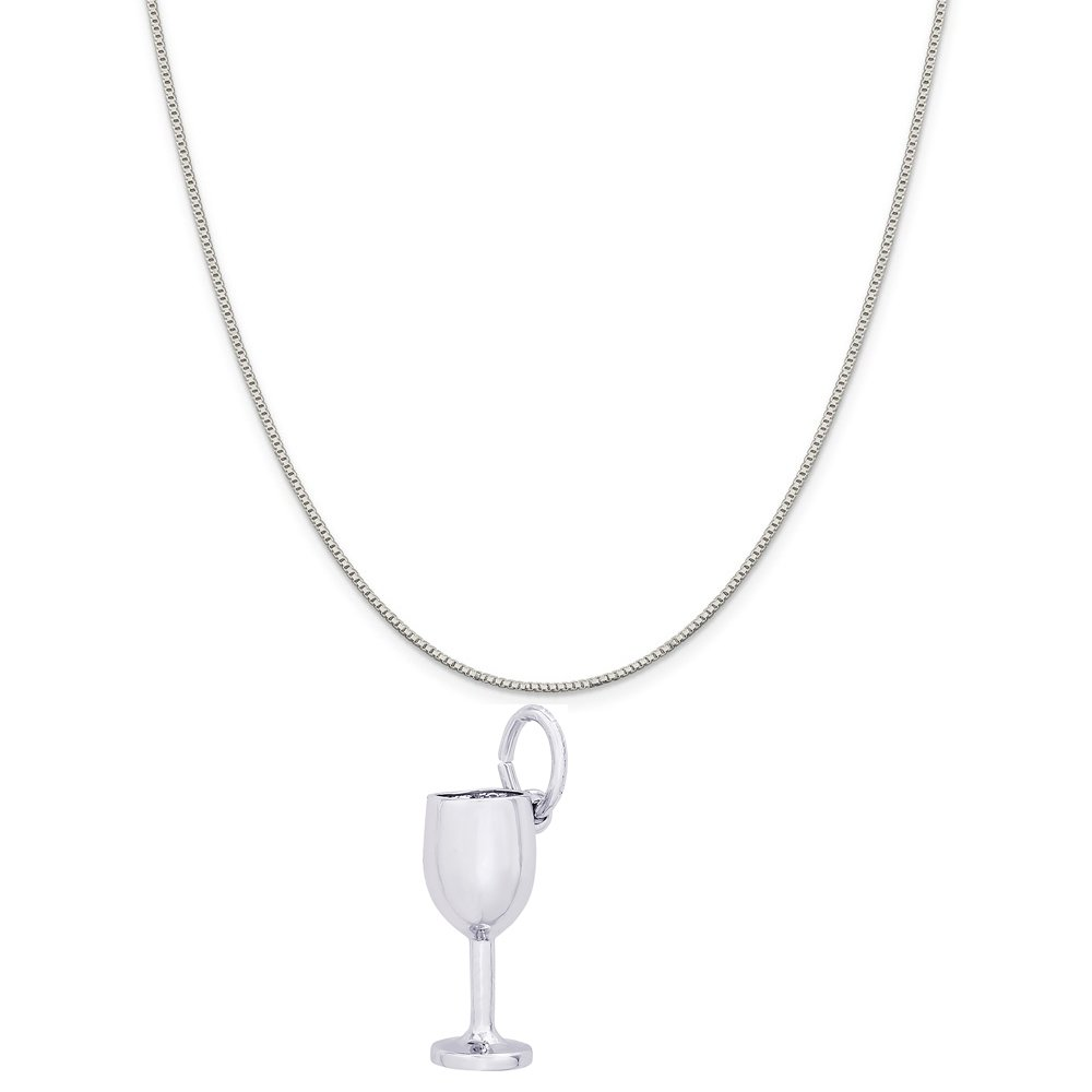 Rembrandt Charms 14K White Gold Wine Glass Charm on a 14K White Gold Box Chain Necklace, 20'' by Rembrandt Charms
