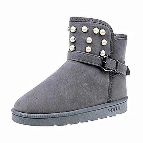 Perla Marrón ZHUDJ Botas Gris invierno de punta para con mujer Negro pierna Botas redonda Para a Botas Zapatos nieve para Gris media la Casual TCwTnfqR