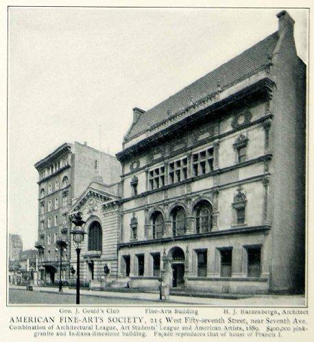 1903 Print American Fine-Arts Society 215 West 57th Street Hardenbergh Gould NY - Original Halftone - Street 5th 57th Avenue