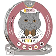 HARKY Flea and Tick Collar for Cats - 8 Months Protection - Hypoallergenic, Adjustable & Waterproof Cat Collar - Flea Treatment Tick Prevention with Natural Essential Oil