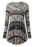 BaiShengGT Women's Flared Comfy Loose Fit Tunic Top XX-Large T06 Black Print