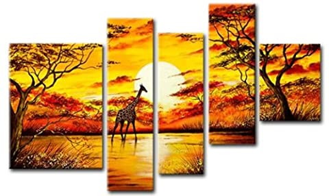 Sangu 100% Hand-painted 5-Piece Sunset Cuadros Africanos Oil Paintings Gift Canvas Wall Art for Home Decoration Paintings For Living Room.
