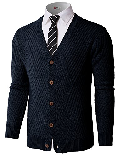 H2H Mens Casual V-Neck Button Down Knitted Pullover Cardigans Navy US 3XL/Asia 3XL (KMOCAL0176)