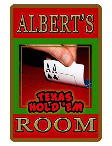 Jesiceny Great Tin Sign Personalized Poker Room Sign Printed with Texas Hold'em Signs Aluminum Metal Sign Wall Decoration 12x8 INCH
