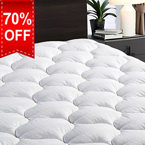 LEISURE TOWN Twin XL Overfilled Fitted Mattress Pad Cover❤️8-21 Deep Pocket❤️Cooling Mattress Topper with Snow Down Alternative Fill❤️Cooling Down Topper