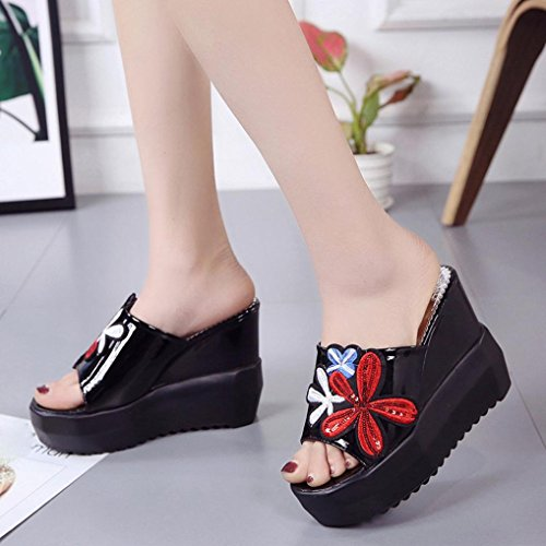 Inkach Womens Wedge Sandals - Embroidered Summer Heeled Sandals - Sloped Slippers Platform Shoes Black obLVP