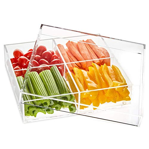 Acrylic Serving Tray With Cover- Acrylic Organizer- 4 Compartments Serving Dish- Thick High-End Acrylic Containers - Clear Multifunctional-Lid Included- BBQ Tray (Tray Compartment Four)