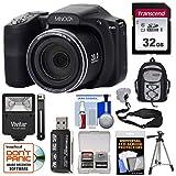 Minolta MN35Z 1080p 35x Zoom Wi-Fi Digital Camera (Black) with 32GB Card + Backpack + Flash + Tripod + Strap + Kit