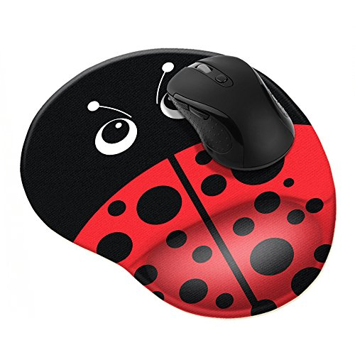 FINCIBO Red LadyBug Comfortable Wrist Support Mouse Pad for Home and Office with Matching Microfiber Cleaning Cloth for Computer and Mobile Screens
