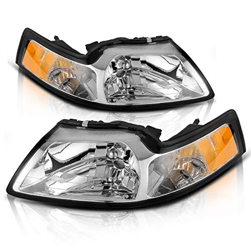 Headlights Assembly for 99 01 02 03 04 Ford Mustang Headlamp Chrome Housing