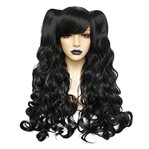 - Anogol Hair+Cap Black Cosply Wig Lolita Wig Synthetic Hair Wigs With Ponytails Long Curly Wigs with Bangs for Costume