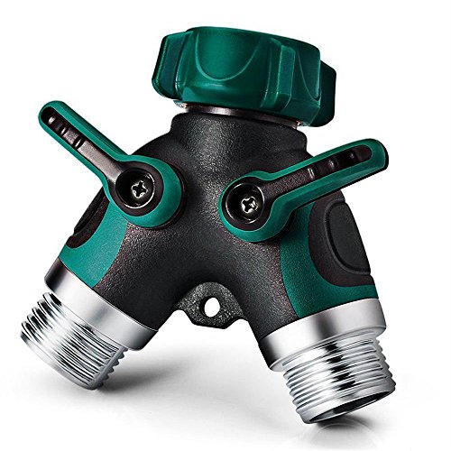 2 Way Y Hose Connector, NEX Garden Faucet Splitter Metal Body with Comfortable Smooth Rubberized (Two Way Hose Connector)