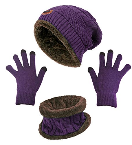 Winter Beanie Hat Scarf Gloves Slouchy Snow Knit Skull Cap Scarves Touch Screen Mittens for Women Purple