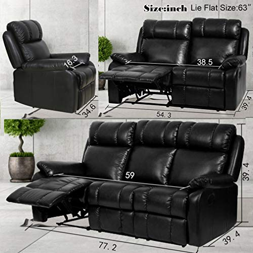 home & kitchen, furniture, living room furniture,  living room sets  on sale, Sofa Set Recliner Sofa 3 PCS Motion Sofa Loveseat Recliner PU Leather Sofa Recliner Couch Manual Reclining Chair3 Seater for Living Room deals3