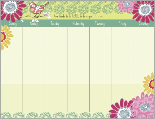 Sparrow Flowers Magnetic Weekly Calendar Pad with Scripture by Gina B (Image #3)