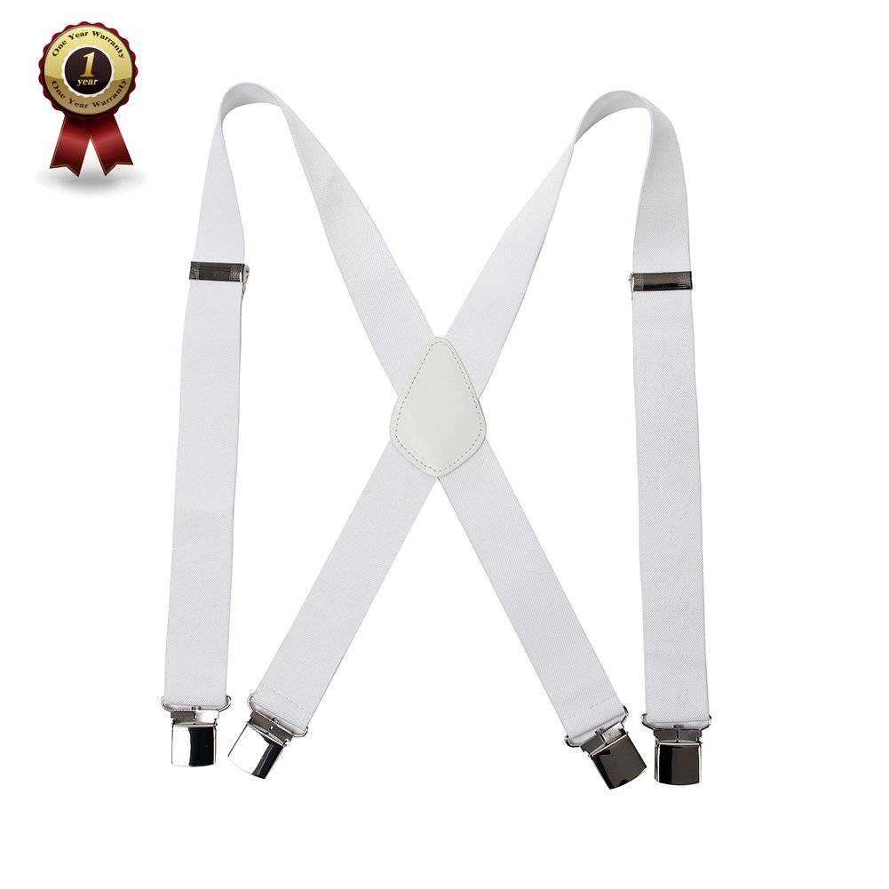 """Men' s X Back Suspenders with 4 Quality Controlled Clips & 1.4"""" Wide Braces & Heavy Duty (White)"""