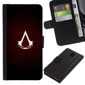 LECELL--Cuero de la tarjeta la carpeta del tirón Smartphone Slots Protección Holder For Samsung Galaxy Note 3 III -- Asesinos sesión --