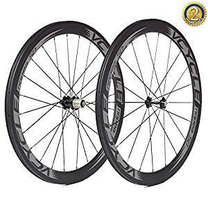 VCYCLE Nopea 700C Carbon Fiber Racing Road Bike Wheelset 50mm Clincher 23mm Width 1700g Shimano or Sram 8/9/10/11 Speed