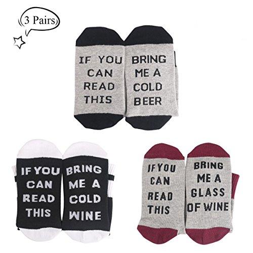 """3 / 4 Ensembles Confort coton chausse """"If you can read this bring me some wine"""" cadeau de Noël pour les amateurs de vin, anniversaires, hommes, femmes, mère ou père cadeau, mari"""