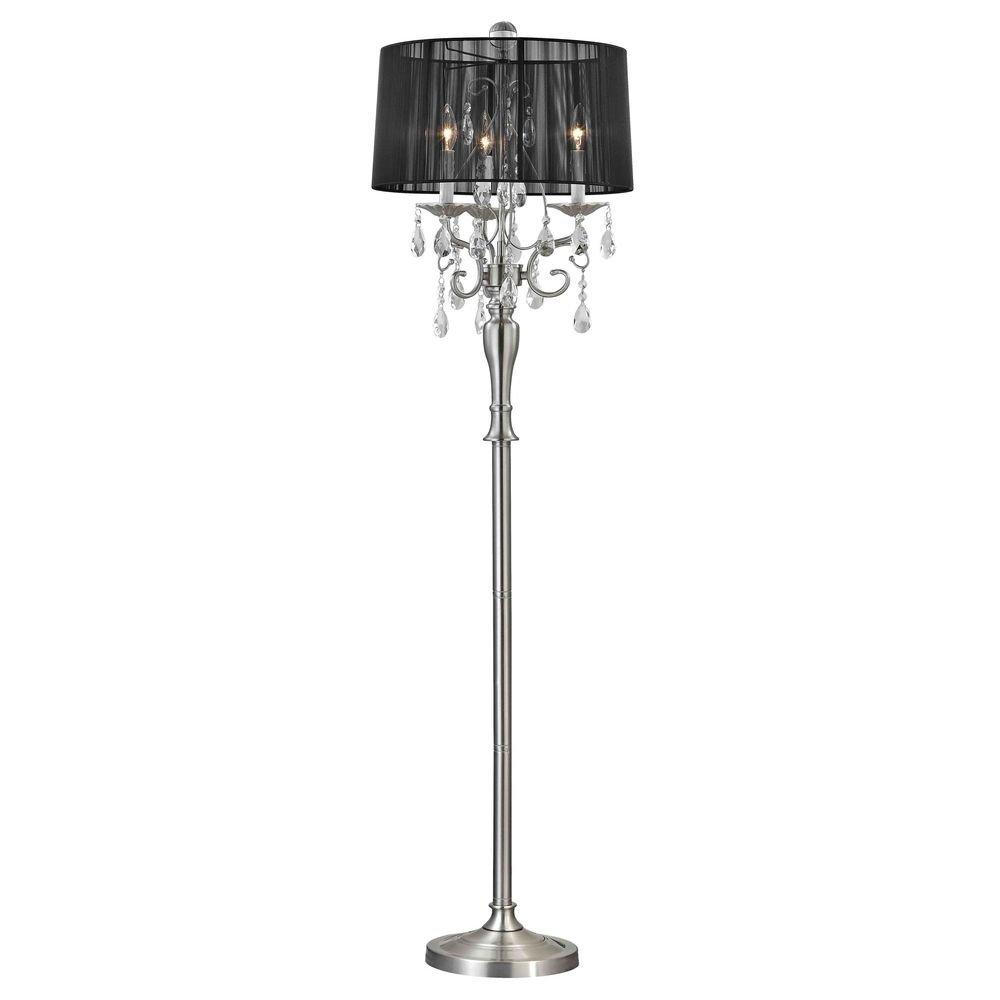 Crystal chandelier floor lamp with black drum shade in satin nickel
