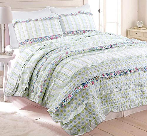 Cozy Line Home Fashions Adalyn Lime Green Blue White Flower Print Lace Ruffle Stripe Cotton Bedding Quilt Set, Reversible Coverlet, Bedspread Set (Lime Lace, Full/Queen -3 Piece)