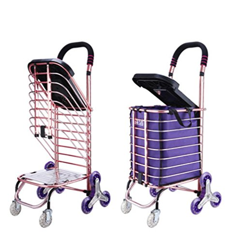 Foldaway Chairs - LUCKYYAN 35L Lightweight Aluminum alloy 8 Wheel Shopping Trolley With Seat, Hard Wearing & Foldaway for Easy Storage