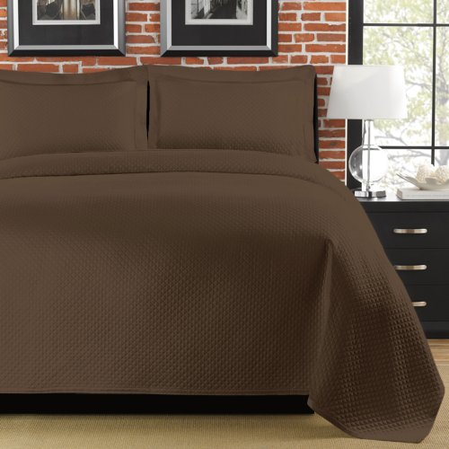 - LaMont Home Diamante Collection - 100% Cotton Matelassé Coverlet