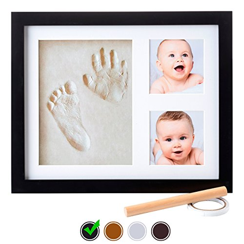 Little Hippo Baby Footprint  Handprint Kit – NO MOLD FRAME! Baby Picture Frame (BLACK)  Non Toxic CLAY! Unique Baby Gifts Personalized for Baby Show…