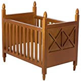 Inusitus Wooden Dollhouse Crib - Dolls House Furniture Bed Nursery - Toys Brown 1/12 Scale (Medium-Brown)