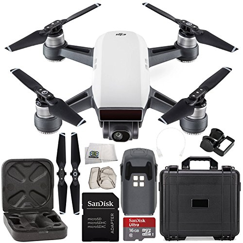 DJI Spark Portable Mini Drone Quadcopter Water Proof Hard Case Starter Bundle (Alpine White)