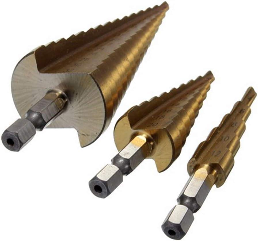 Durable Precision 3pcs Hss Steel Titanium Step Drill Bits Head 4-32mm 4-12mm 4-20mm Cone Cutting Tools Woodworking Metal Drilling Drill Bit Set Shank Shape : Hexagonal