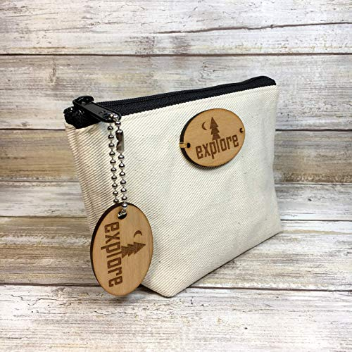 Explore Denim Canvas Pouch with Matching Key Chain