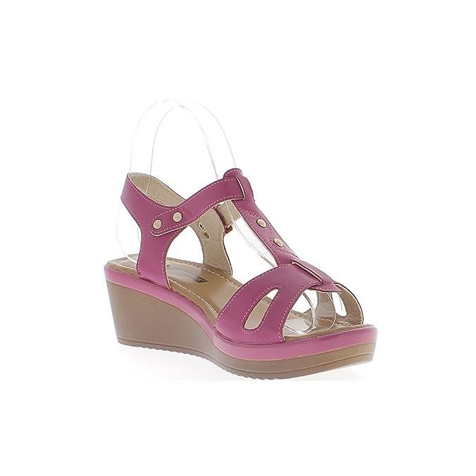 ChaussMoi Fucsie zeppa sandali di 6cm e spessore 2cm suole vasta flange:  Amazon.it: Scarpe e borse